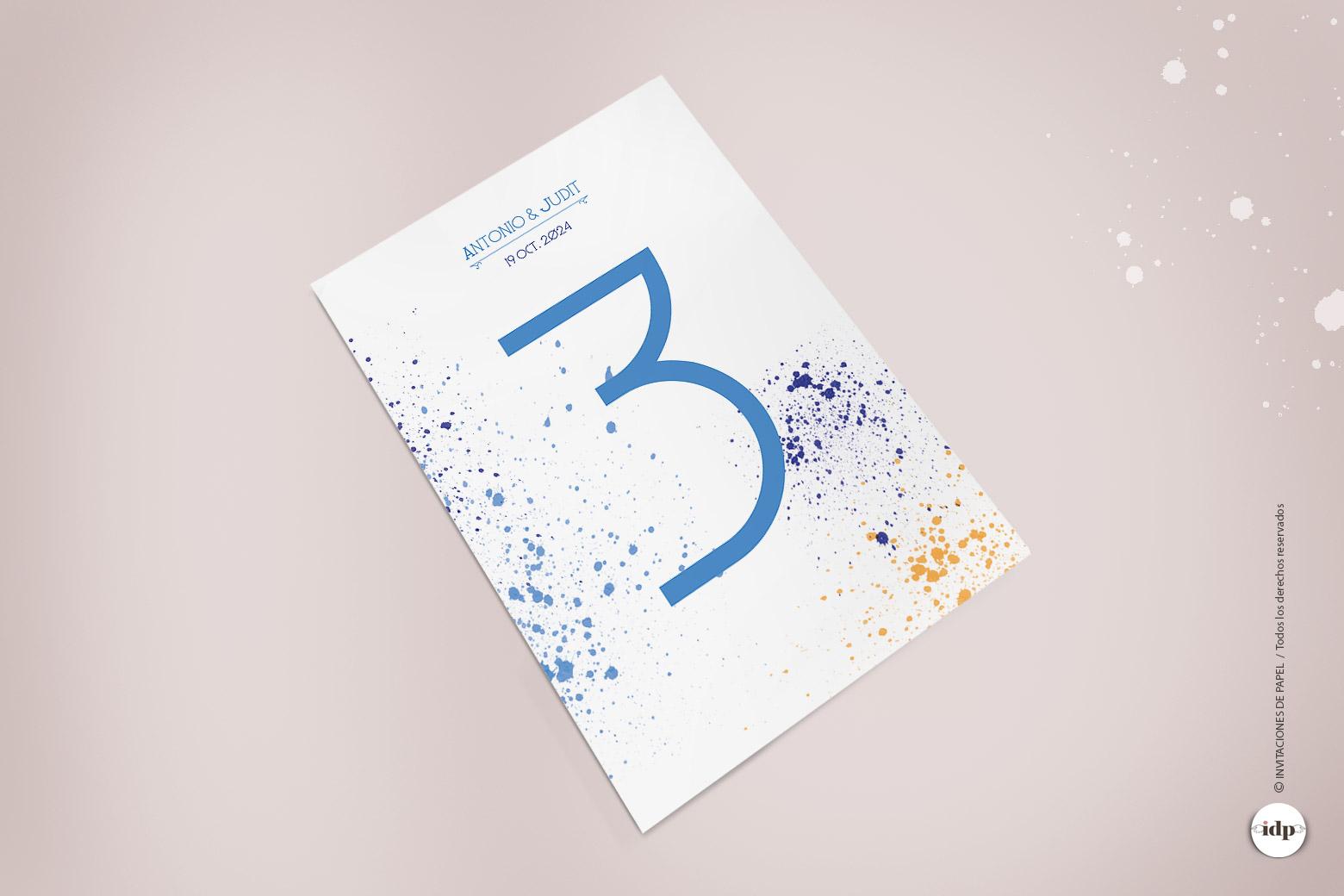 Numero de Mesa para Boda Original y Moderno con manchas de Acuarela - lienzo