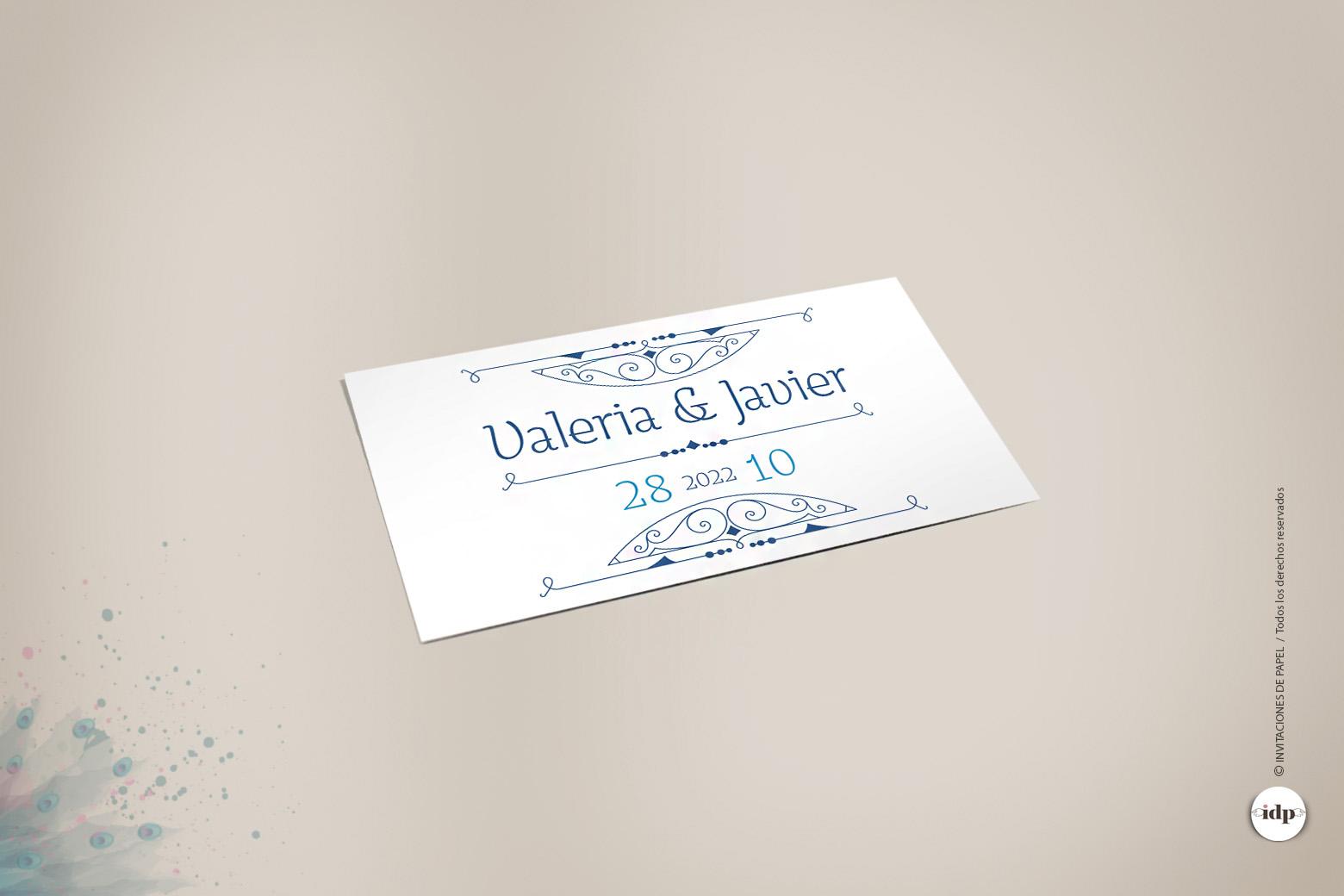 Etiqueta Adhesiva para Regalos de Boda tipo Vintage Años 20- royal rectangular blanco