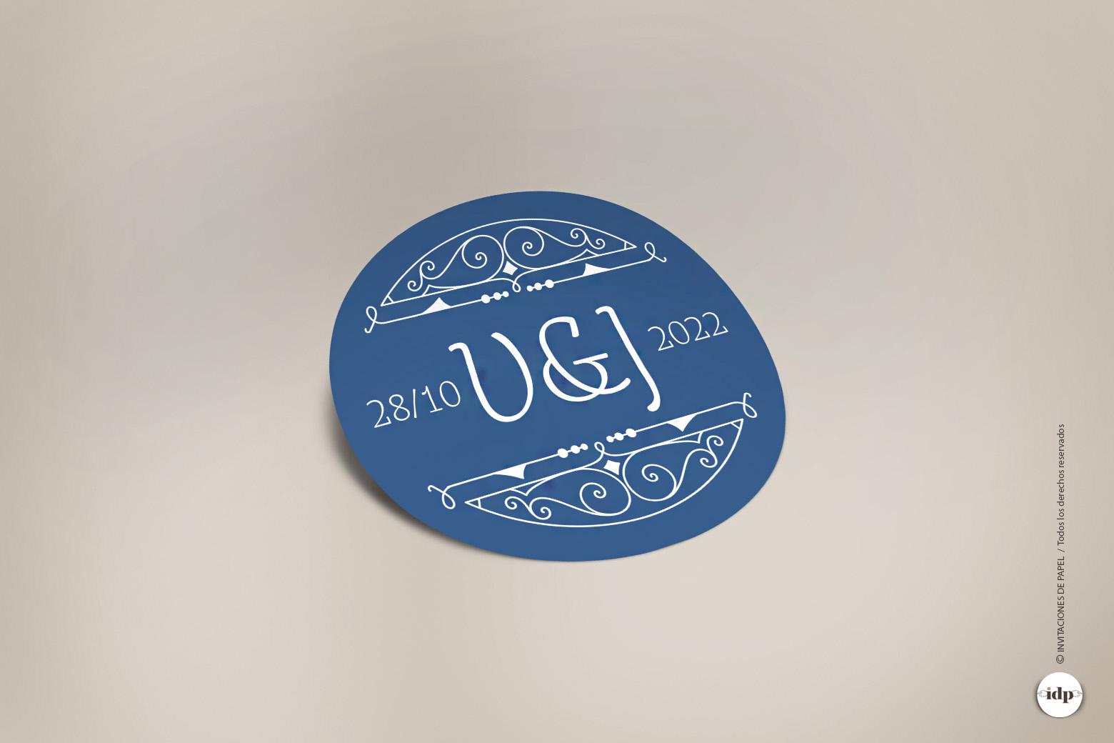 Pegatina para Regalos de Boda en Azul tipo Vintage Años 20- royal redonda
