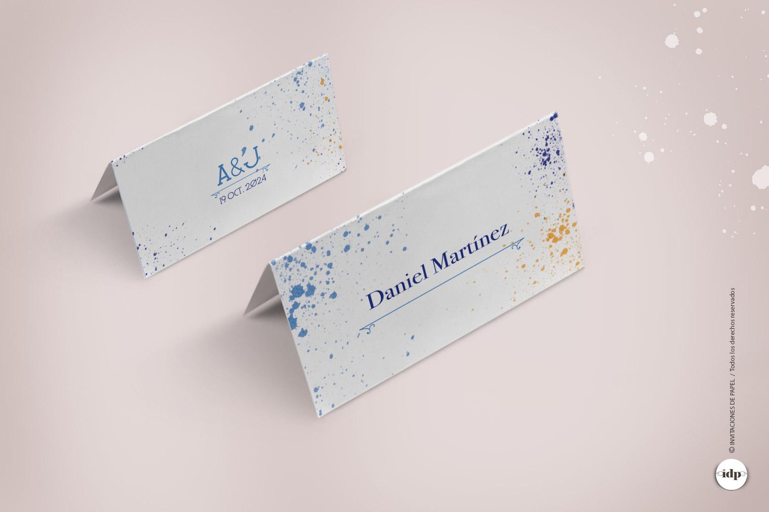 Puestos de Mesa Personalizado con Nombre con Acuarela en manchas - lienzo