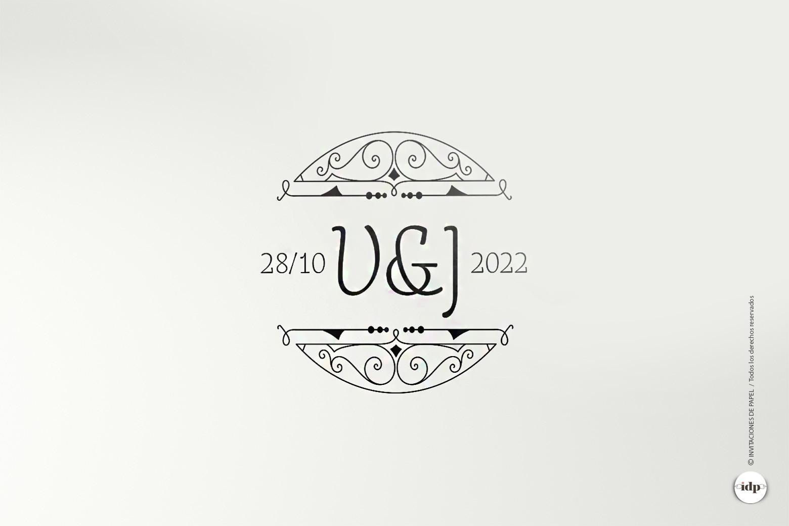 Sello Personalizado de Boda Años 20- royal redondo