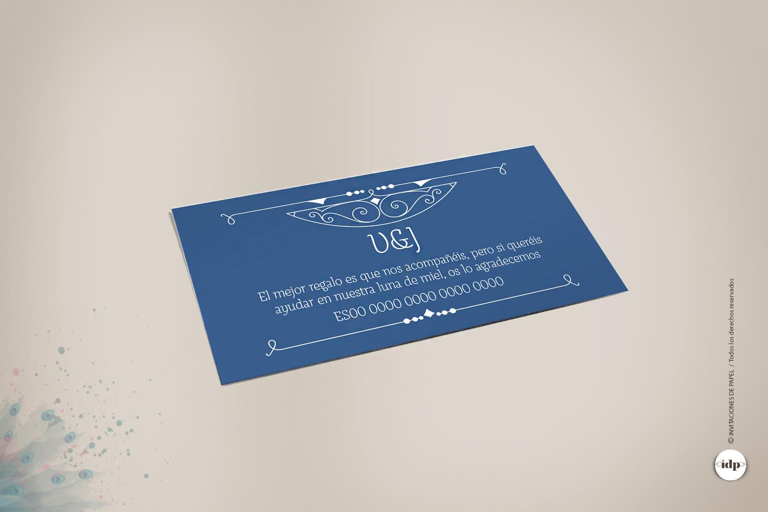 Tarjeta para Numero de Cuenta de Boda tipo Años 20 - royal azul